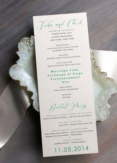 Mint Script  Modern Wedding Ceremony Programs Mint by BeaconLane, $100.00 Keywords: #weddings #jevelweddingplanning Follow Us: www.jevelweddingplanning.com  www.facebook.com/jevelweddingplanning/