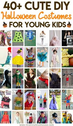 Don't dish on an expensive store bought costume! Here is a collection of over 40 of the cutest and easiest DIY halloween costumes for kids. Diy Baby Costumes, Diy Halloween Costumes For Kids, Halloween Activities, Easy Halloween, Holidays Halloween, Children Costumes, Costume Ideas, Healthy Halloween, Halloween Books