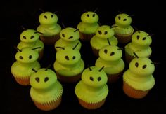 Snack on Green Alien Cupcakes while watching Escape from Planet Earth. - - A DIY idea for movie snacks at a backyard movie event by Southern Outdoor Cinema.