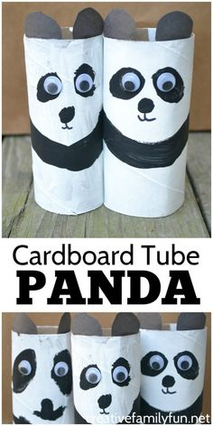 Create a pretend play zoo and add this simple cardboard tube panda craft. Its a simple and fun craft for kids that makes use of recycled materials. Animal Crafts For Kids, Craft Projects For Kids, Paper Crafts For Kids, Toddler Crafts, Diy For Kids, Cardboard Crafts Kids, Toilet Roll Craft, Toilet Paper Roll Crafts, Zoo Crafts