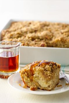This banana bread coffee cake is a tasty new take on breakfast! Sliced and mashed bananas make this cake extra moist and delicious.Make it the day before for an extra easy brunch!