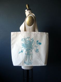 Canvas Tote Bag - Screen Printed Recycled Cotton Grocery Bag - Large Canvas Shopper Tote - Mason Jar - Home Canning - Reusable and Washable Large Bags, Large Tote, Cotton Tote Bags, Reusable Tote Bags, Paper Grocery Bags, Textiles, Shopper Tote, Canvas Tote Bags, Screen Printing