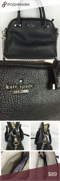 Kate Spade Emerson Place Maise Black Messenger Kate Spade Emerson Place Smooth Small Maise Black Messenger  Condition: NEW - NEVER SOLD.  IMPORTANT: Please see photos for blemish from sticker removal on back of bag. I pulled a sticker off the bag and accidentally caused this small blemish. :-( Carry your belongings with ease in the Emerson Place Smooth Small Maise bag from Kate Spade . Made of quality Leather materials, this will keep your essentials on-hand with great style.  SHOULDER…