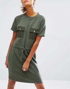 Image 3 ofDaisy Street Sweat T-Shirt Dress With Drawstring Waist & Pockets
