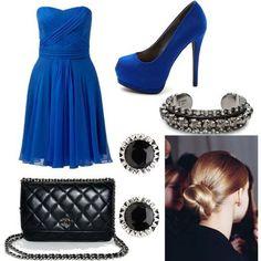 royal blue & black outfit