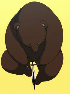 Bear on Bicycle Illustrated gif / animation