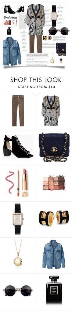 """""""Brown and denim"""" by fernandaalmeida-1 ❤ liked on Polyvore featuring True Religion, Forever Unique, Boohoo, Chanel, tarte, Blue Nile and LE3NO"""