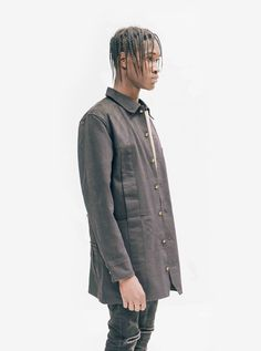 "Profound Aesthetic Elongated Cold War Work Jacket ""On the Streets I Ran"" FW15 Collection http://profoundco.com"