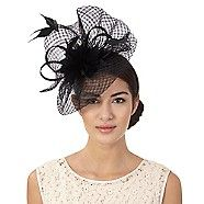 J by Jasper Conran Black windowpane swoop fascinator- | Debenhams
