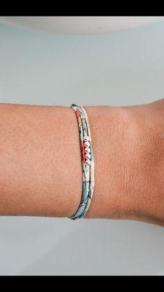 Fabric Bracelet - Liberty of London Bracelet - Betsy porcelain  - Beads Bracelet - Liberty Bracelet - Silver beads Bracelet- Sterling Silver