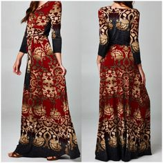 Royal Empire Rust / Gold Damask Faux Wrap Maxi dress. Order yours at Shannasthreads.com