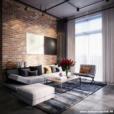 Minimal mixed with industrial works best because of the huge window for natural light