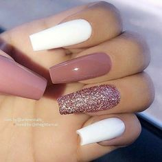 Nagellack Design, Nagellack Trends, Acrylic Nails Coffin Short, Fall Acrylic Nails, White Coffin Nails, White Acrylic Nails With Glitter, Coffin Nails Glitter, Brown Nails, Autumn Nails
