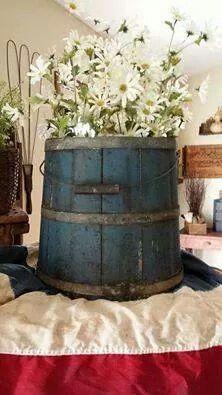 blue bucket...patriotic display