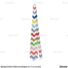 Spring Colors Chevron Stripes Tie