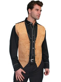 Mens Leather Vest Collection: Scully Western Suede, Snap Front, Golden Tan