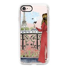Paris Girl (Eiffel Tower, Fashion Illustration) - iPhone 7 Case,... ($40) ❤ liked on Polyvore featuring accessories, tech accessories, iphone case, slim iphone case, iphone cases, apple iphone cases and iphone cover case