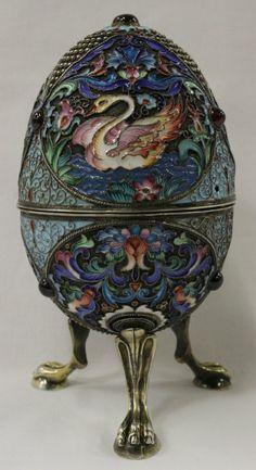 Russian signed enamel silver egg