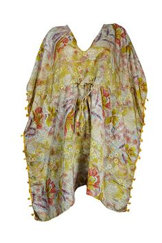 02805ea8ea0d Mogul Interior Womens Green Short Caftan Drawstring Printed Cover up  Bohemian Dress Short Kaftan XL at