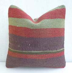 Decorative pillow cover made with a vintage Turkish Hand woven Kilim rug. Add a wonderful Bohemian touch to your decor! Kilim Pillows, Kilim Rugs, Throw Pillows, Crochet Instructions, Decorative Pillow Covers, Hand Weaving, Stripes, Vintage, Products
