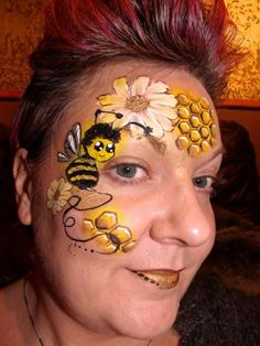 without the bee Face Painting For Boys, Face Painting Designs, Paint Designs, Body Painting, Bee Face Paint, Face Paint Makeup, Belly Art, Extreme Makeup, Color Me Beautiful