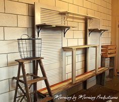 Morning by Morning Productions: A scrappy wall storage unit - My first building project Pet Food Storage, Diy Storage Bench, Storage Hacks, Wall Storage, Kitchen Storage, Storage Ideas, Outdoor Storage Units, Antique Booth Displays, Display Shelves