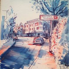 Новая покраска работы 2015 года // Recolor of the old artwork #sketchbook #sketch #urbansketch #copic #street
