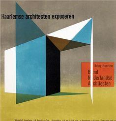 Poster by Otto Treumann (1919-2001), 1948, Haarlemse architecten exposeren.