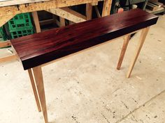 slimline sideboard perfect for the entrance hall with solid recycled Jarrah top and contrasting tapered legs. #bomboracustomfurniture
