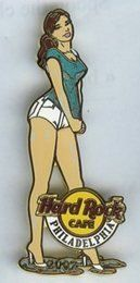 "Summer Girl # 1 Sexy Philadelphia Hard Rock Cafe Pin Le 300 by Hard Rock Cafe. $14.97. Brunette girl facing right, wearing wet aqua t-shirt and white short shorts. HRC logo is over her left knee with ""Philadelphia"". ""2007"" is on the puddle of water at her feet. First of three wet t-shirt girl pins. Released April 2007. limited edition 300"