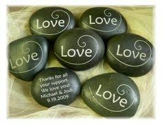 Homemade stone wedding souvenirs