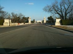 Leaving Arlington National Cemetery.  Lincoln Memorial in the background.