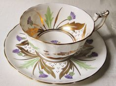 Vintage Royal Chelsea Hand Painted Tea Cup and Saucer. $45.00, via Etsy.