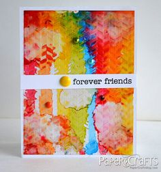 Technique: alcohol inks on cuttlebug-embossed transparencies. The Tie-Dye Look tutorial by Teri Anderson.