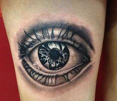 Wonderful Eye Tattoo Design For Thigh
