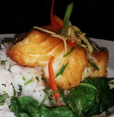 Soy Glazed Chilean Sea Bass, spinach & Jasmine rice.. Order here for 24 hr home delivery -> http://www.floridaseafood.com/chilean-seabass-starting-with-3-5-lbs/ Fish Dishes, Seafood Dishes, Fish Recipes, Seafood Recipes, Fresh Seafood, Chilean Sea Bass, Cooking Ideas, Cooking Recipes, Jasmine Rice
