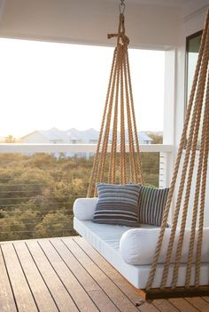 Charming Porch Swing Design Ideas www. Home Design: 80 Charming Porch Swing Design Ideas www.Home Design: 80 Charming Porch Swing Design Ideas www. Outdoor Spaces, Outdoor Living, Outdoor Couch, Outdoor Hanging Chair, Hanging Beds, Diy Hanging, Hanging Porch Bed, Outdoor Cushions, Outdoor Decor