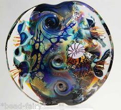 Shining Through Large Lentil Focal handmade glass beads Beadfairy Lampwork SRA
