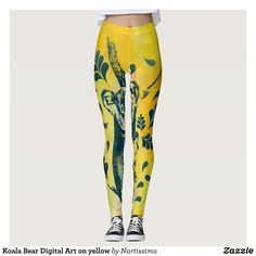 Koala Bear Digital Art on yellow Leggings : Beautiful #Yoga Pants - #Exercise Leggings and #Running Tights - Health and Training Inspiration - Clothing for #Fitspiration and #Fitspo - #Fitness and #Gym #Inspo - #Motivational #Workout Clothes - Style AND #comfort can both be possible in one perfect pair of custom #leggings. #Koala Bear Digital Art on yellow Leggings was crafted made with care each pair of leggings is printed before being sewn allowing for #fun and #creative designs on every