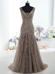 Drop Waist V Neck Court Train Tulle Brown Mother Of The Bride Dress Bmmc0009