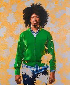 Kehinde Wiley (born 1977) is a New York-based portrait painter, who is known for his highly naturalistic paintings of contemporary urban African, African-American, Afro-Brazilian, Indian and Ethiopian-Jewish men in heroic poses.