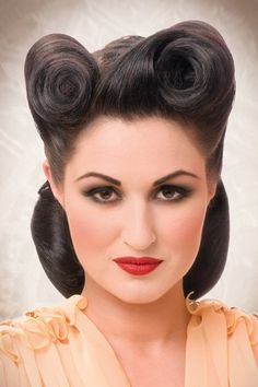 lack retro hair do by Patrick Cameron. Hair: Patrick Cameron Make-up: Alison Chesterton Photographer: Alistair Hughes