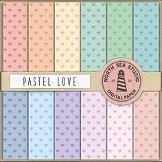 Hearts Digital Paper Pack Scrapbook Paper by NorthSeaStudio