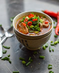 Sichuan Pork Noodle Soup - use bean noodles and wheat-free tamari and it would be GF.