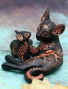 Animal Sculptures, Sculpture Art, Galaxy Cat, Alien Concept Art, Clay Studio, Pet Memorial Gifts, Polymer Clay Animals, Clay Figurine, Polymer Clay Miniatures