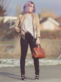 Fall Style, Fall Fashion, Autumn Outfit, Herbstlook, pastel hair, Fashion Blog, Maze Leather Jacket, Fringes