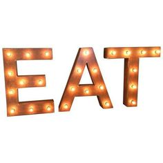 1940s Vintage Up-Cycled Ambient 'Eat' Sign (15.575 DKK) ❤ liked on Polyvore featuring home, home decor, wall art, novelty signs, signs, outside wall art, text message signs, vintage metal wall art, word wall art and outdoor wall art