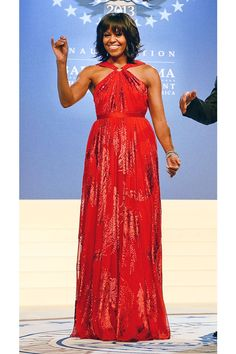 Here, she wears a chiffon–and-velvet Jason Wu gown at the Inaugural Ball in Washington, D.C.   - ELLE.com