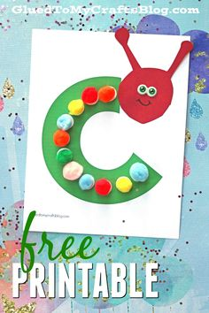 """C"" is for Caterpillar - Pom Pom Kid Craft Idea w/free printable template"