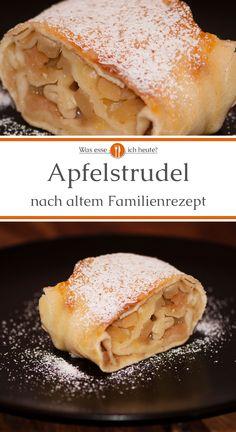 Bei dem Apfelstrudel Rezept wird der häufigverwendete Strudelteigdurch einen Nudelteig ersetzt. Da er keine Butter enthält ist diese Variante etwas leichter und mit weniger Fett. Apfelstrudel nach österreichischer Art ist unser Lieblingsrezept unter den zahlreichen Apfelstrudel Rezepten. Er kann mit Vanillesoße, Eis und Sahne serviert werden.  #backen #äpfel #apfelkuchen #apfelstrudel #altesrezept #backen #rezept